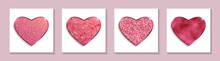 Set Of Red Glittering Hearts For Valentine's Day Greeting.