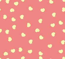 Endless Seamless Pattern Of Hearts Of Different Directions. Yellow Vector Hearts On Pink. Wallpaper For Wrapping Paper. Background For Valentine's Day