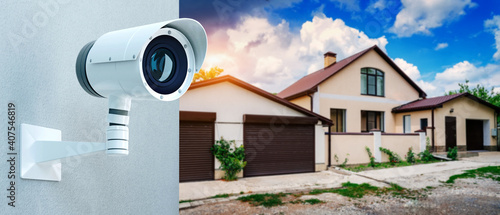 Stampa su Tela Security guard system video surveillance camera for private property