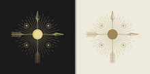 Arrow, Bow With Geometric Symbols Frames. Sacred Mystic Signs Drawn In Lines. Illustration In Black And Gold Colors.