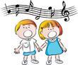 vector cartoon school kids boy and girl sing song