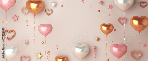 Fototapeta Happy valentines day decoration with heart shape balloon, confetti, copy space text, 3D rendering illustration obraz