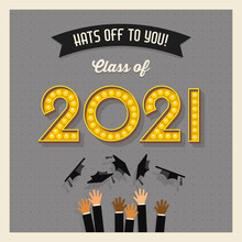 2021 Graduation Card Or Banner Design With Vintage Light Bulb Sign Numbers. Grads Throwing Mortarboards In The Air. Hats Off To You!  Vector Illustration.