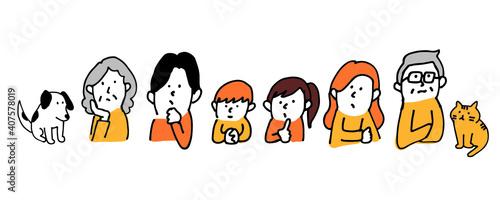 Obraz na płótnie 6人家族とペットの本音