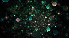 Abstract Holiday Background With Green And Beige Shiny Particles. Fantastic Light Effect. Digital Fractal Art. 3d Rendering.