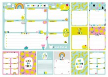 Vector Weekly Planner Template. Vector Templates With Cute Design Elements. Cute Print For Cards,  Poster, Banners, Book Covers, Notebooks Page.