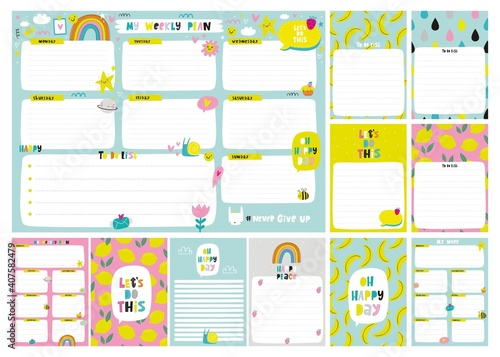 Valokuvatapetti Vector weekly planner template