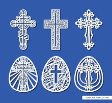 Set Of Crosses And Easter Eggs. Decorative Elements Of Religious Themes. Template For Plotter Laser Cutting (cnc), Wood Carving, Paper Cut, Metal Engraving Or Printing. Vector Illustration.