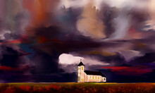 Church On A Background Of The Sky, Watercolor Drawing.