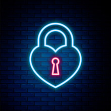 Glowing Neon Line Castle In The Shape Of A Heart Icon Isolated On Brick Wall Background. Locked Heart. Love Symbol And Keyhole Sign. Colorful Outline Concept. Vector.