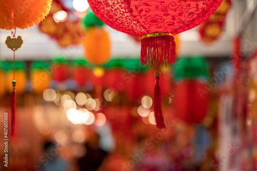 Outdoor Asia Spring Lunar Chinese New Year ornaments decorations Fototapet