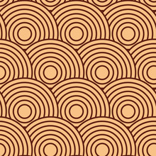 Japanese Vector Background In Beige Color. Abstract Geometric Backdrop. Round, Circle, Ring Shape. Square Asian Background. Oriental Template, Design Element. Asian Tree, Wood, Japanese, Chinese Theme
