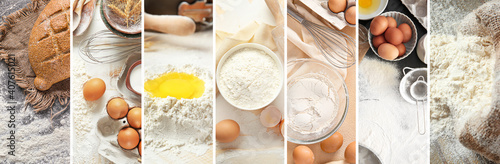 Obraz Collage of kitchen utensils and flour on table - fototapety do salonu