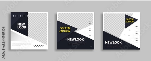Obraz Set of Editable minimal square banner template. Blue yellow white background color with geometric shapes for social media post and web internet ads. Vector illustration - fototapety do salonu