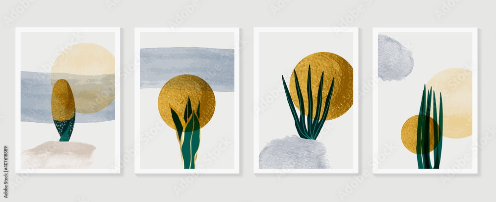 Fototapeta Gold tropical wall arts vector. Botanical  line art drawing with watercolor brush.  Plant Art design for wall framed prints, canvas prints, poster, home decor, cover, wallpaper.