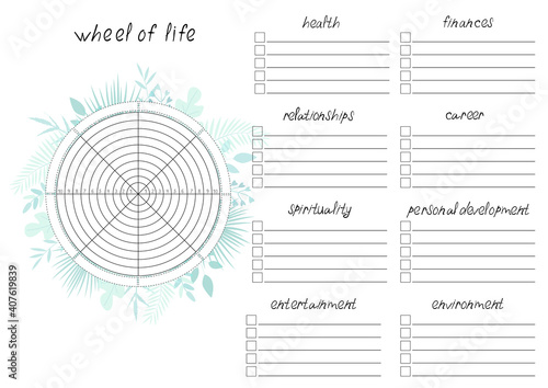 Fotografia Printable A4 paper sheet with tropical leaves and Wheel of Life - diagram with blank lines to fill