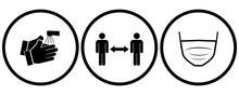 Covid-19 Preventation Symbols Set. Clean Your Hands, Maintain A Safe Distance, Wear A Mask.