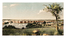 Distant View Of Lowell, Massachusetts, From Nearby Upper Countryside In A Sunny Day. Highly Detailed Vintage Style Color Illustration By Unknown Author, U.S., 1850