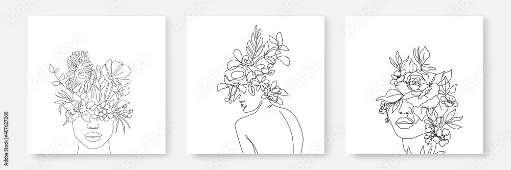Fototapeta Abstract Line Woman and Flowers Prints Set Continuous Line art. Fashion Templates with Female Body, Plants, Leaves, color Elements Modern Trendy Outline Style. Vector Beauty Illustration