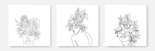Abstract Line Woman And Flowers Prints Set Continuous Line Art. Fashion Templates With Female Body, Plants, Leaves, Color Elements Modern Trendy Outline Style. Vector Beauty Illustration