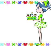 Vector Cartoon Happy Birthday  Card Border