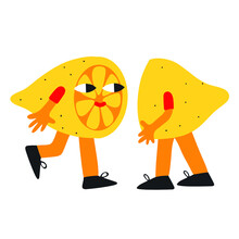Vector - Lemon Slices Run To Each Other To Meet. Funny Character Lime. Acid Retro Funky Style. Loving Fruit Citrus Stickers. Trendy Element For Postcards And Decor 2021