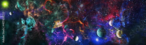 Fototapeta The Milky Way is the galaxy that contains our Solar System. Infinite space background with nebulas and stars. This image elements furnished by NASA obraz