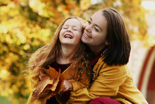 Irish Little Girl With Mom Outdoor Photo On Fall Landscape Background