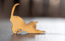 Close Up Of Toy Wooden Cat Silhouette. Macro