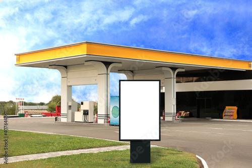 Fotografia Empty billboard on modern gas station outdoors, space for design
