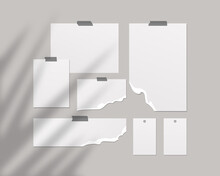 Mood Board Empty Sheets White Paper Wall Mood Board With Shadow Overlay Template Design Realistic Illustration (1)