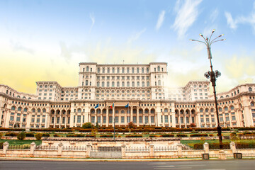 Bucharest - Romania The Palace of Parliament at autumn sunset