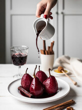 Pears Boiled In Red Root Wine, Served With This Wine Sauce, Is An Exquisite, Aromatic And Light Dessert.