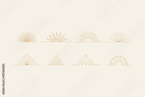 Fotomural elements-03Vector set of linear boho icons and symbols - sun logo design templat