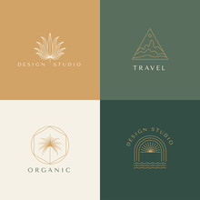 Vector Set Of Linear Boho Icons And Symbols - Sun Logo Design Templates - Abstract Design Elements