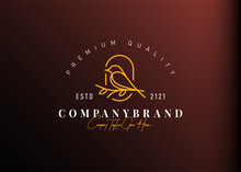 Bird Logo Design Inspiration. Vector Illustration Of A Bird Perching On A Branch. Modern Vintage Icon Design Template With Line Art Style.