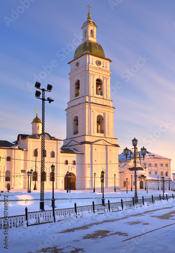 Tobolsk Kremlin on a winter evening. The bell tower of the St. Sophia Assumption Cathedral in the evening light. Old Russian architecture of the XVII century in the first capital of Siberia