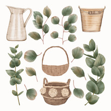 Wooden Items With Eucalyptus Leaves