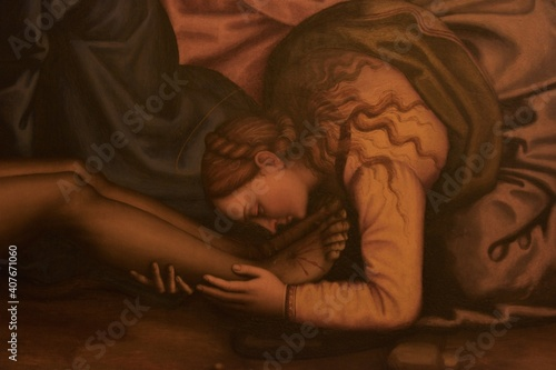 Stampa su Tela Mary Magdalene depicted with her characteristically long untied hair weeping at