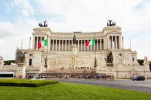 National Monument The Vittoriano Or Altare Della Patria, Altar Of The Fatherland In Venezia Square.  It Is One Of The Italian Patriotic Symbols Located On The Campidoglio Hill In Rome, Italy.