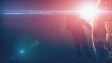 Close-up Earth Spaceman Researcher At Sun Light. Solar System Planet Explorer In Modern Spacesuit. Outer Cosmos Spacer Closeup. NASA Astronaut In Zero Gravity Spatial Flying. Background 3D Animation