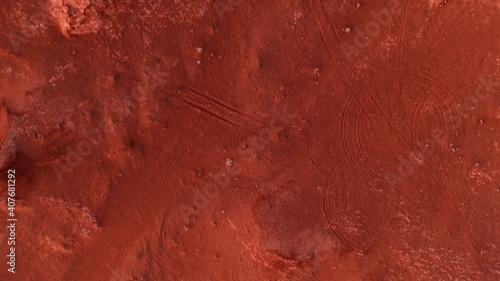 Martian landscape, Flaming Cliffs aerial view in the Gobi Desert Wallpaper Mural