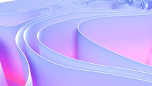 Abstract Folded Paper Effect. Bright Colorful Blue Purple Background. Maze Made Of Paper. 3d Rendering