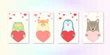 Cute Cartoon Animal Holds A Heart Sign With Copy Space. Set Valentine's Day Greeting Card Banner Invitation Flyer Brochure. Cartoon Hand Drawn Style. Little Animals Pets In Love, Declaration Of Love