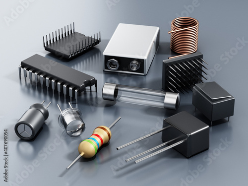 Spare electronic parts isolated on gray background. 3D illustration © Destina