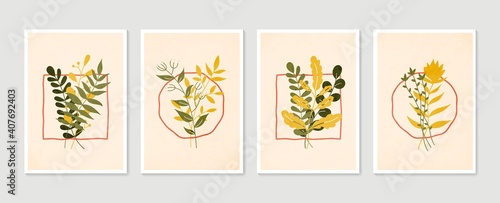 Obraz Botanical wall art vector set. Minimal and natural wall art. Boho foliage line art drawing with abstract shape. Abstract Plant Art design for print, wallpaper, cover. Modern vector illustration. - fototapety do salonu