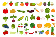 Set Of Fruits And Vegetables On A White Background. Healthy Food