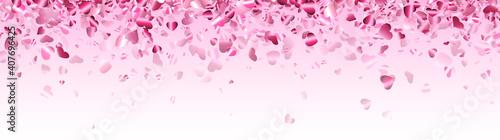 Fototapeta Pink hearts confetti frame on light pink background. obraz