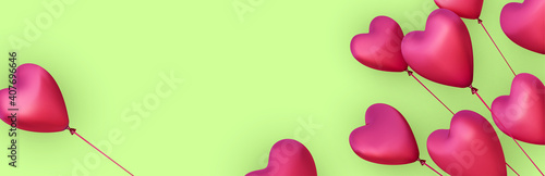 Obraz Green banner with realistic 3d pink heart balloons. - fototapety do salonu