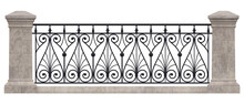 Forged Iron Railings. Black Metal Decor. Wrought Iron. Stone Pillars. Vintage. 3D Rendering For The Project. Isolated. White Background.